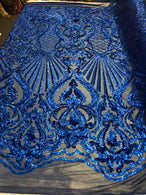 Glam Pattern Sequins Royal Blue - 4 Way Stretch Colorful Designer Net Sequins Fabrics