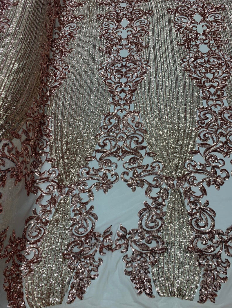 Rose Gold Sequin Fabric, 4 Way Stretch on a Nude Mesh By Yard