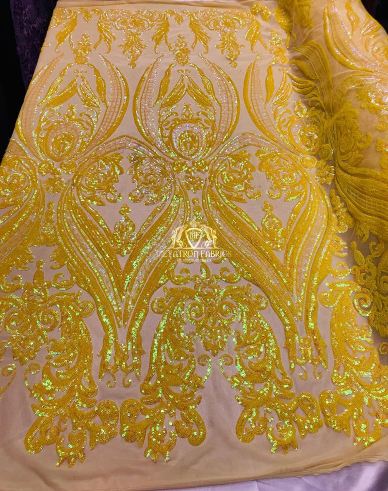 4 Way Stretch - Yellow - Damask Fish Net Design Sequins Fashion Dress Fabric Mesh 2 Sample