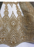 Gold Beaded Fabric Embroidered Lace Pearls On A Mesh Bridal/Wedding Fabrics Sold By The Yard