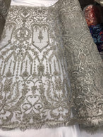 Silver Beaded Fabric Embroidered On A Mesh Lace Fancy Dress Fabric Sold By The Yard