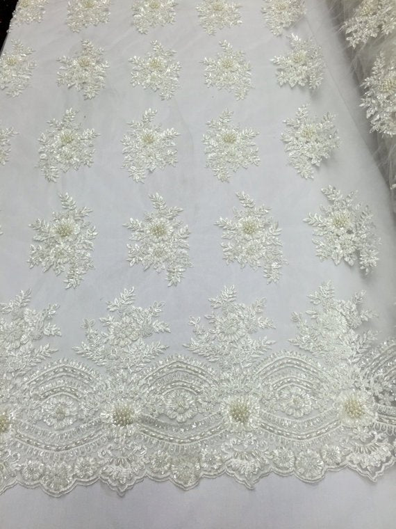 Beaded - Ivory - Embroidered Floral Design Fancy Sequins Fabric with Beads Sold By The Yard
