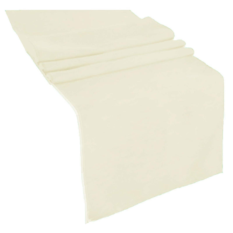 Table Runner ( Ivory ) Polyester 12x72 Inches Great Quality Tablecloth for all Occasions