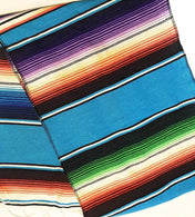 Mexican Sarape Light Turquoise Table Runner 14