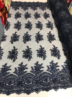 Beaded - Navy Blue - Embroidered Floral Design Fancy Sequins Fabric with Beads Sold By The Yard