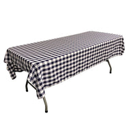 Rectangular Checkered Tablecloth 60x120 Inch (Navy Blue/White) Linen Checkered Tablecloth