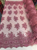 Beaded - Pink - Embroidered Floral Design Fancy Sequins Fabric with Beads Sold By The Yard