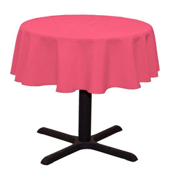 Round Linentablecloth - Pink - 51 Inch Round Banquet Polyester Cloth, Wrinkle Resist Quality