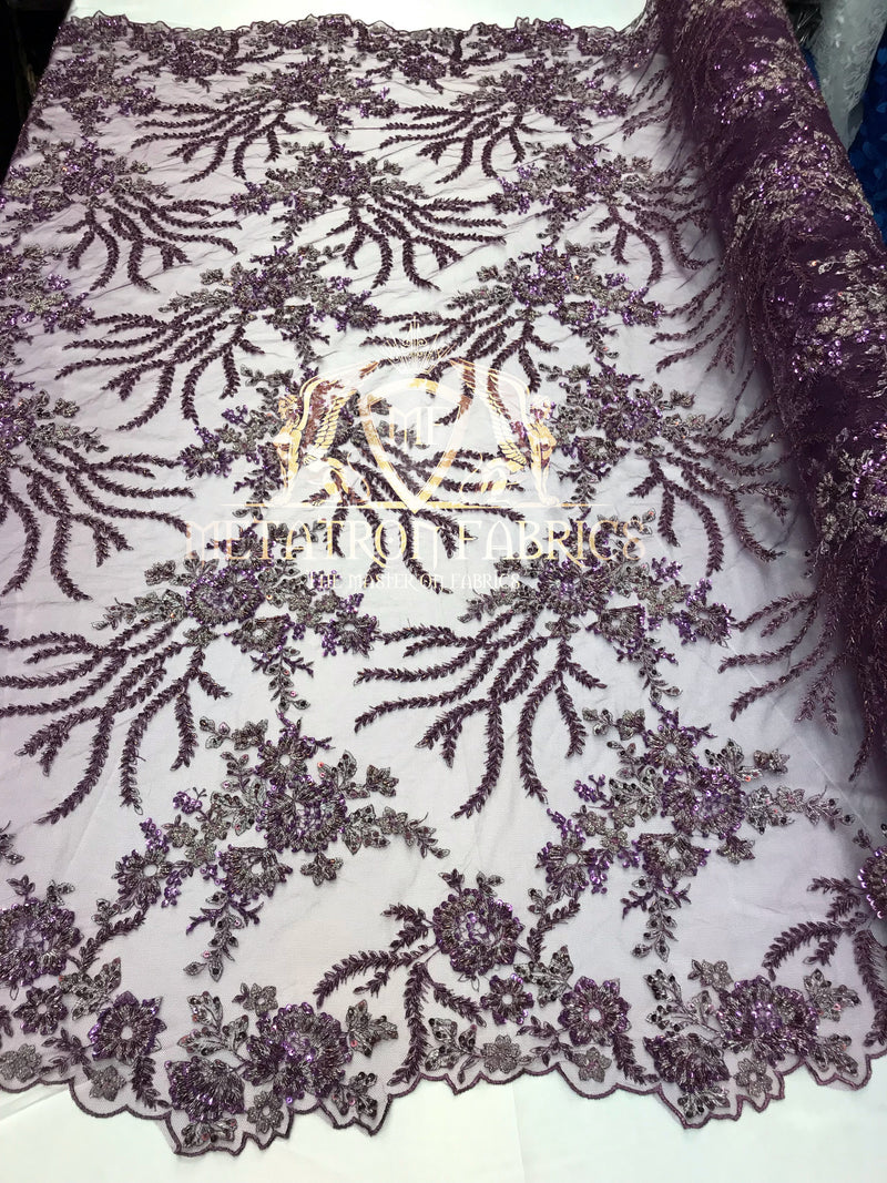 Beaded - Lilac Purple - Fancy Flower Design Sequins Fabric with Beads Sold By The Yard