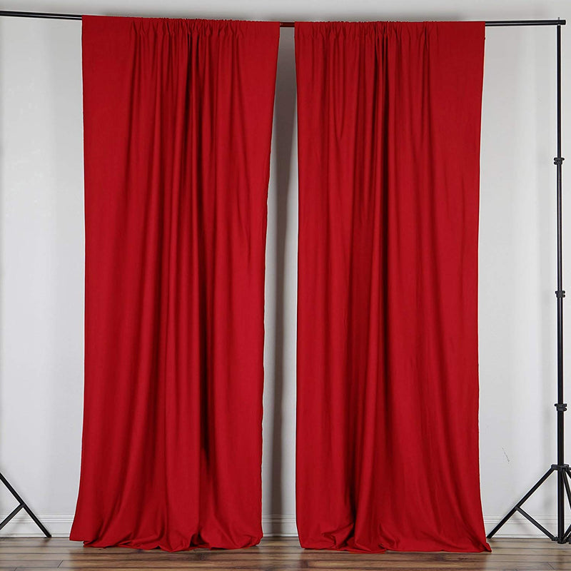 5 Feet x 10 Feet - Red - Polyester Poplin Backdrop Drape Curtains, Photography Event Decor 1 Pair