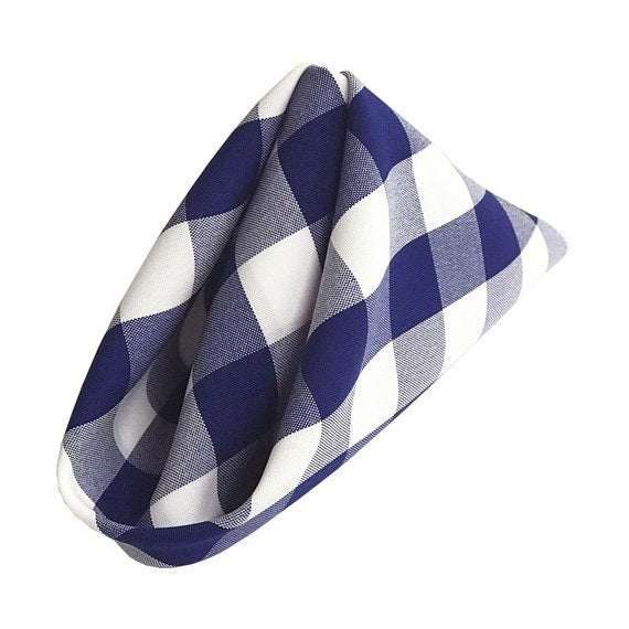 Checkered Napkins - Royal Blue - 15-Inch Polyester Napkins (1-Dozen) Checkered Napkins