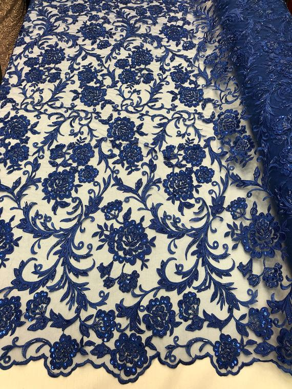 Beaded Floral - ROYAL BLUE - Luxury Wedding Bridal Embroidery Lace Fabric Sold By The Yard