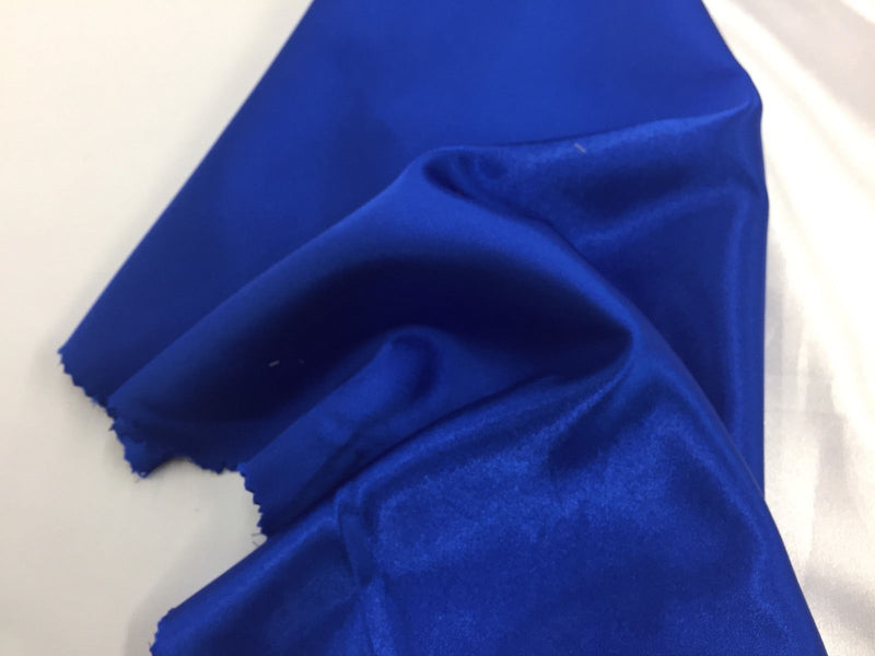 Satin Fabric - Royal Blue - 60 Inch 2 Way Stretch Charmeuse Satin - High Quality Fabric By The Yard