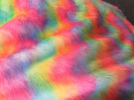 Faux Fur Fabric - Wave Dye Rainbow Multi-Color Decoration Soft Furry Fabric 60