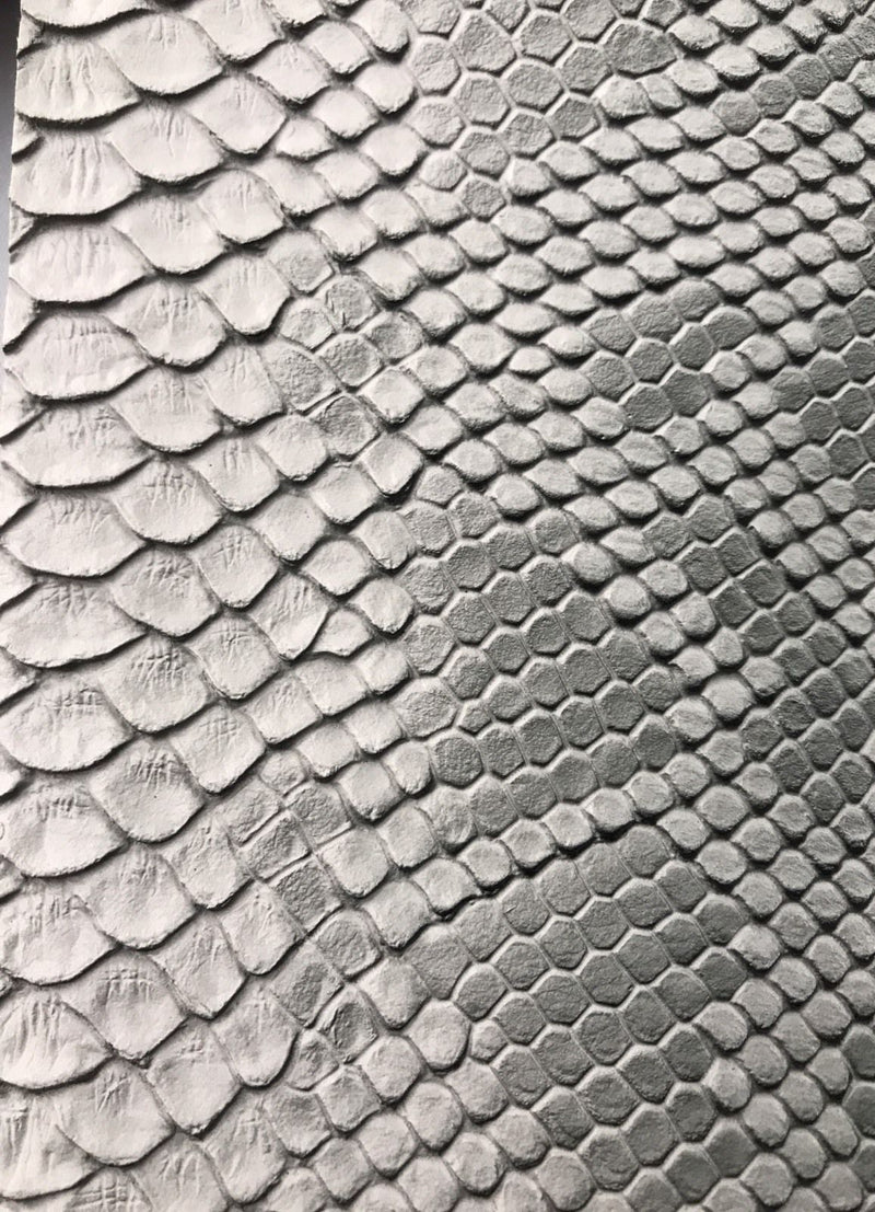 Vinyl Fabric - SILVER Faux Viper Snake Skin Leather Upholstery - 3D Scales - By The Yard
