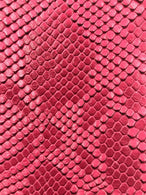 Vinyl Fabric - FUCHSIA Faux Viper Snake Skin Leather Upholstery - 3D Scales - By The Yard