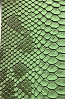 Vinyl Fabric - GREEN Faux Viper Snake Skin Leather Upholstery - 3D Scales - By The Yard