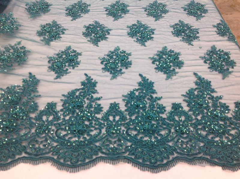 Wedding mesh lace Luxurious new Persian design for its embroidery mesh of teal stones and sequins
