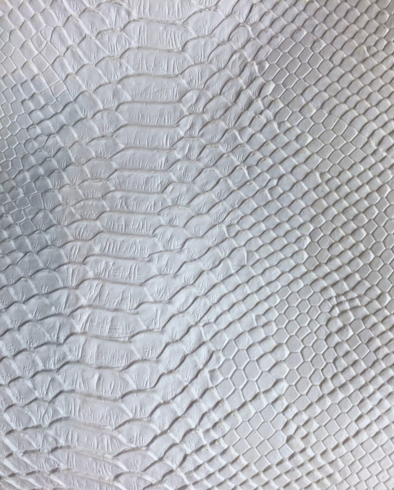 Vinyl Fabric - WHITE Faux Viper Snake Skin Leather Upholstery - 3D Scales - By The Yard