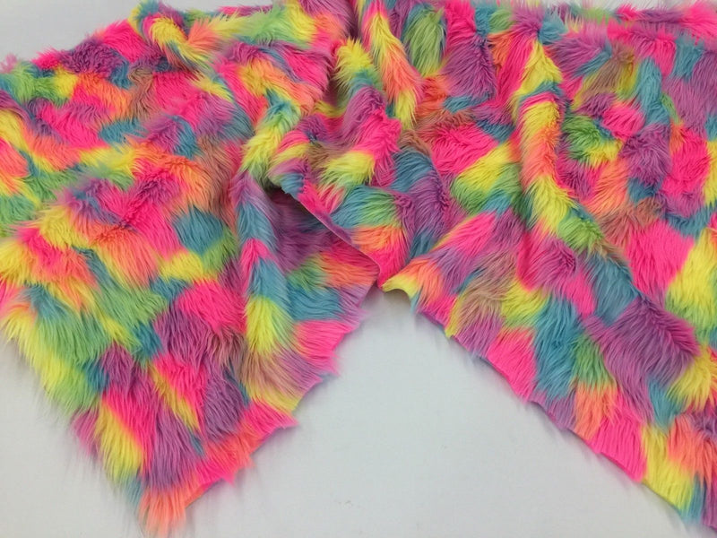 Faux Fur Fabric - Pink Long Pile Multi-Color Decoration Soft Fabric -  60
