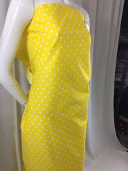 Poly Cotton Print Upholstery & Floral Fabric - Yellow Polka Dot Print - Sold By The Yard