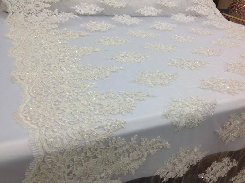 Lace  Fabric - By The Yard Ivory Mesh Bridal Veil Beaded & Sequins Wedding Decorations