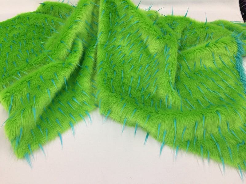 Faux Fur Fabric - Two Tone Lime Green / Aqua Spikes Multi-Color Soft Fur Fabric 60