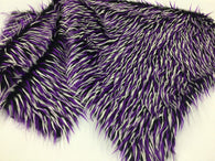 Faux Fur Fabric Two Tone Black White and Purple Spikes Decoration Soft 60