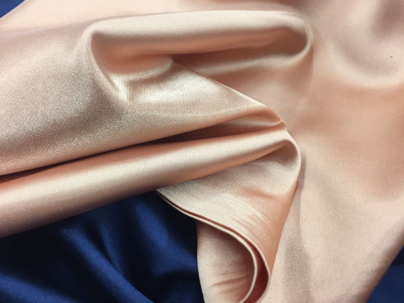 SALMON 60 inch 2 Way Stretch Charmeuse Satin-Super Soft Silky Satin - By The Yard