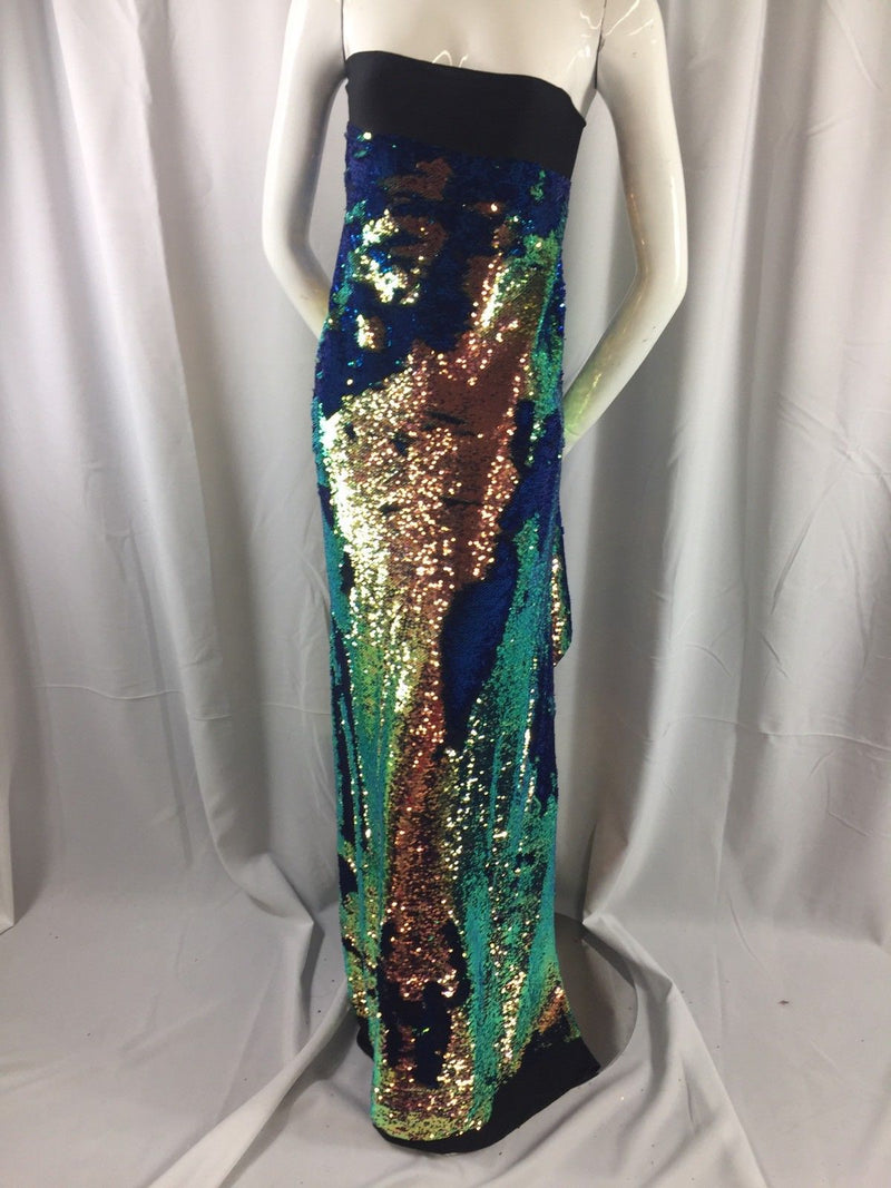 Mermaid Sequins Fabric IRIDESCENT Reversible 2 Way Stretch Royal Shiny Flip Up Sequins By The Yard