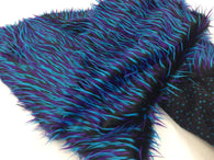 Faux Fur Fabric Two Tone Aqua Blue and Purple Spikes Decoration Soft 60
