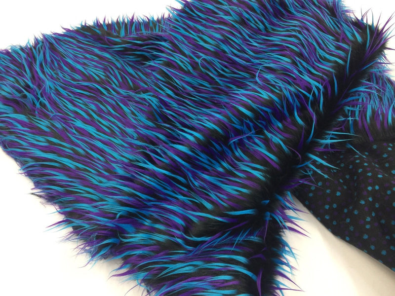 FREE SHIPPING!!! Spike Multi-Color Faux Fake Fur Fabric By The Yard Can Be Used For Costumes-Clothing-Accessories PurpleFuchsia On Black