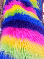 Faux Fur Fabric - Rainbow Striped Multi-Color Decoration Soft Furry Fabric 60