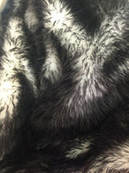Faux Fur Fabric - Black and Ivory Fake Fur Decoration Soft Furry 60