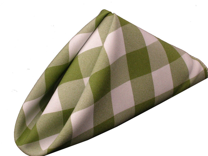 Checkered Napkins - Sage - 15-Inch Polyester Napkins (1-Dozen) Checkered Napkins