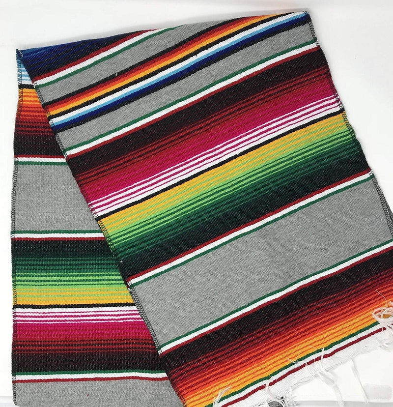 Mexican Sarape - Silver - Table Runner 14