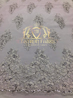 Lace Fabric - Silver  - Corded Flowers Embroidery With Sequins On Mesh Sold By The Yard