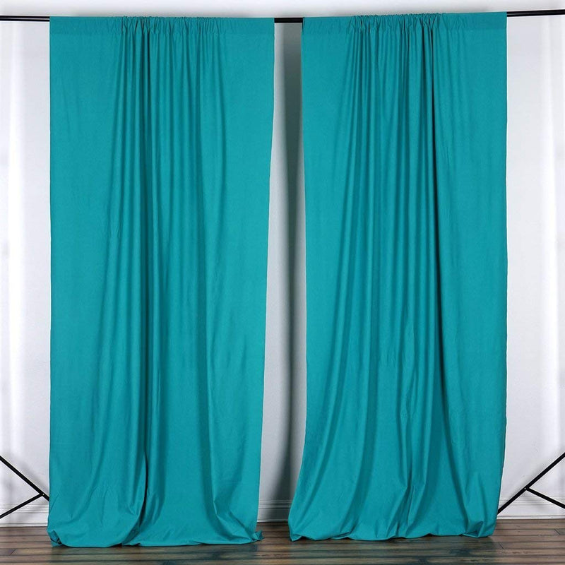 5 Feet x 10 Feet - Turquoise Polyester Poplin Backdrop Drape Curtain Photography Event Decor 1 Pair