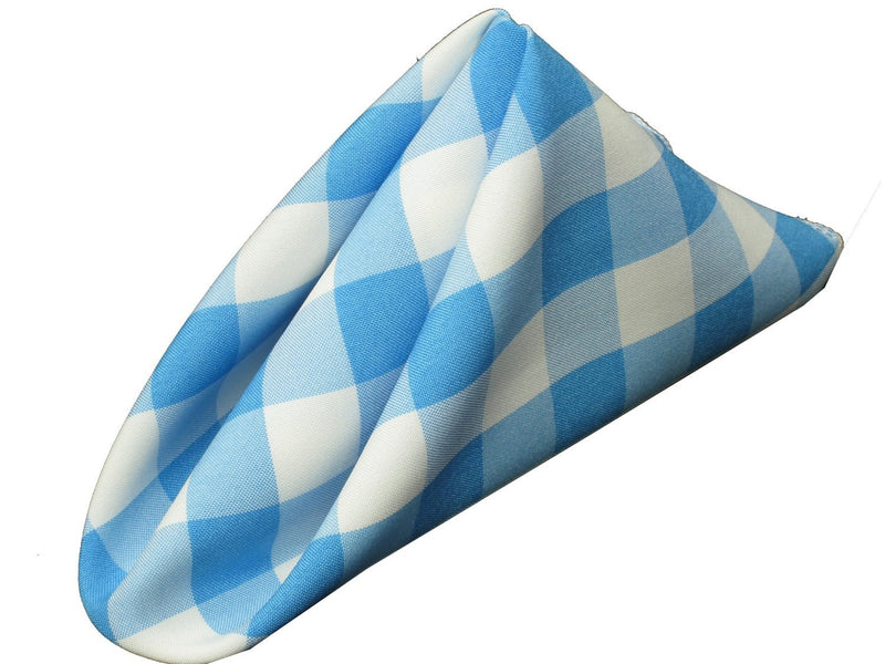 Checkered Napkins - Turquoise - 15-Inch Polyester Napkins (1-Dozen) Checkered Napkins