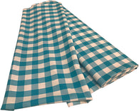 Checkered Poplin - Turquoise - Polyester Poplin Flat Fold Solid Color 60
