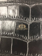 Black Crocodile Faux Fake Leather Vinyl Fabric 3D Scales Vinyl Crocodile Sold By The Yard