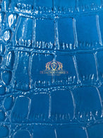 Blue Crocodile Faux Fake Leather Vinyl Fabric 3D Scales Vinyl Crocodile Sold By The Yard