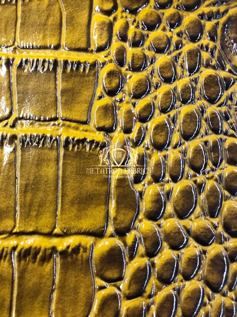 Gold Crocodile Faux Fake Leather Vinyl Fabric 3D Scales Vinyl Crocodile Sold By The Yard