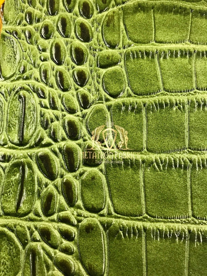 Kiwi Green Crocodile Faux Fake Leather Vinyl Fabric 3D Scales Vinyl Crocodile Sold By The Yard