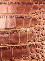 Brown Crocodile Faux Fake Leather Vinyl Fabric 3D Scales Vinyl Crocodile Sold By The Yard