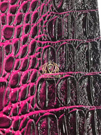Magenta Crocodile Faux Fake Leather Vinyl Fabric 3D Scales Vinyl Crocodile Sold By The Yard