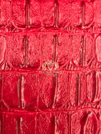 Red Crocodile Faux Fake Leather Vinyl Fabric 3D Scales Vinyl Crocodile Sold By The Yard