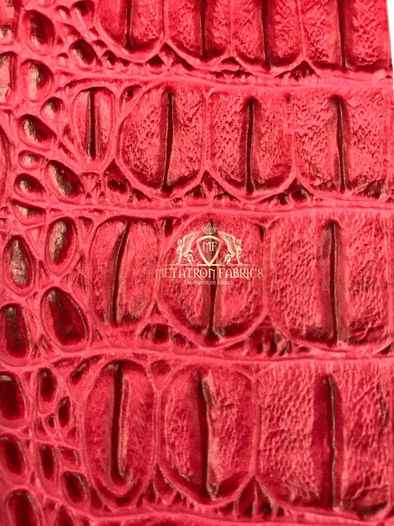 Tropic Pink Crocodile Faux Fake Leather Vinyl Fabric 3D Scales Vinyl Crocodile Sold By The Yard
