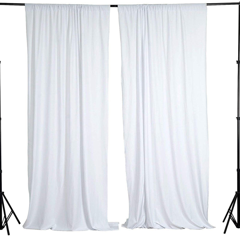 5 Feet x 10 Feet - White - Polyester Poplin Backdrop Drape Curtains, Photography Event Decor 1 Pair