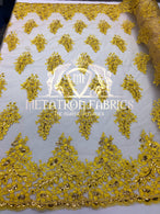 Lace Fabric - Gold / Yellow - Corded Flowers Embroidery With Sequins On Mesh Sold By The Yard